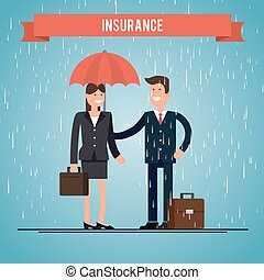 Insurance agent. protects the woman from rain.