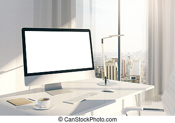 Creative desktop white screen side - Sideview of creative...