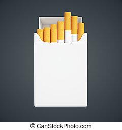 Cigarette pack on dark - Open white cigarette pack on dark...