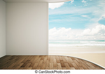 Interior seaside view - Interior design with blank wall and...