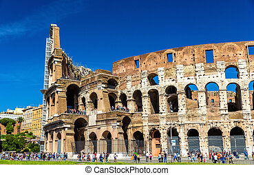 Ruins of Colosseum or Flavian Amphitheatre in Rome, Italy