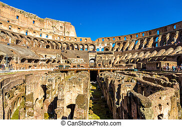 Arena of Colosseum or Flavian Amphitheatre in Rome, Italy