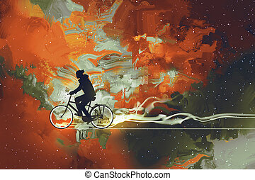 man on bicycle in universe