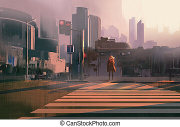 lonely woman in winter city - lonely woman standing on urban...