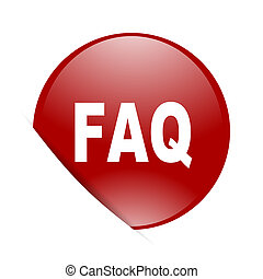 faq red circle glossy web icon