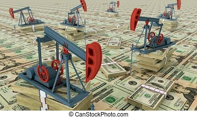 Oil pumps on dollar banknotes