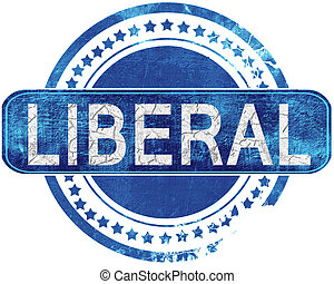 liberal grunge blue stamp Isolated on white - liberal stamp,...