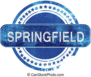 springfield grunge blue stamp. Isolated on white. -...