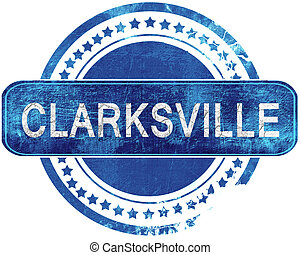 clarksville grunge blue stamp. Isolated on white. -...