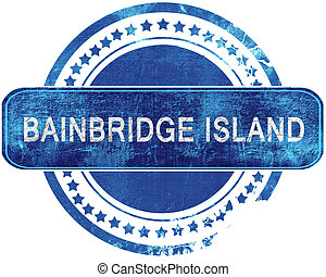bainbridge island grunge blue stamp. Isolated on white. -...