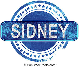 sidney grunge blue stamp. Isolated on white. - sidney stamp,...