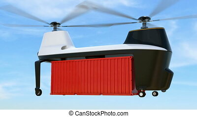 Cargo drones flying in the sky.