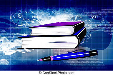 Book and pen - Illustration of a pen ad books