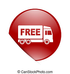 free delivery red circle glossy web icon