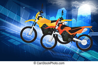 Motor sports - Two racing bikes in different