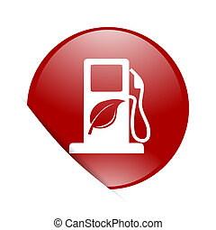 biofuel red circle glossy web icon
