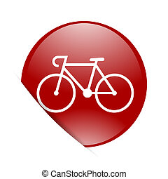 bicycle red circle glossy web icon