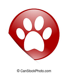 foot red circle glossy web icon