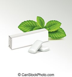 Vector Pack of Chewing Gum with Fresh Mint Leaves Isolated