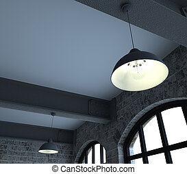 Blank wall in empty room with windows - 3d render of Blank...