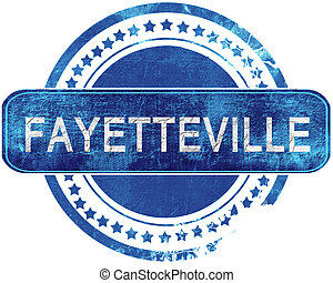 fayetteville grunge blue stamp. Isolated on white. -...
