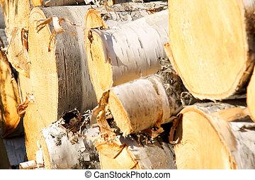 Wood pile diagonal focus rear
