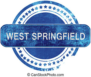 west springfield grunge blue stamp. Isolated on white. -...
