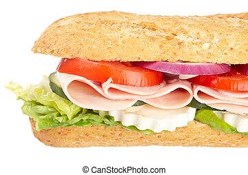 Baguette sandwich - A baguette sandwich with ham, onion,...