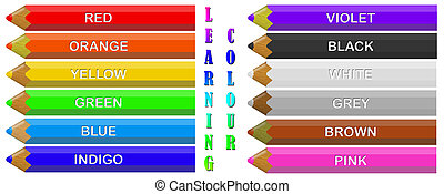 Coloured Crayons - Illustration of coloured crayons labelled...