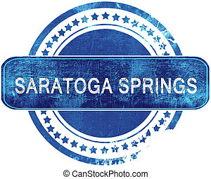 saratoga springs grunge blue stamp. Isolated on white. -...