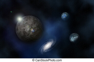 3D space background with fictional planets - 3D space...