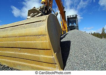 hidráulico, escavador, trabalho, pá, balde,...