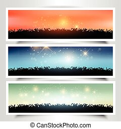 Grassy landscape banners - Collection of three grassy...