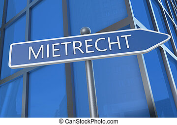 Mietrecht - german word for tenancy law - illustration with...
