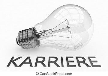 Karriere - german word for career - lightbulb on white...
