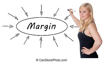 Margin - young businesswoman drawing information concept on...