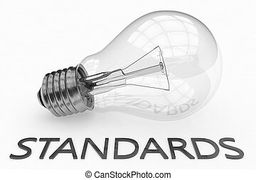Standards - lightbulb on white background with text under it...