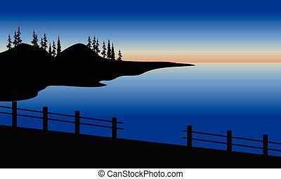 Silhouette of sea in the bridge