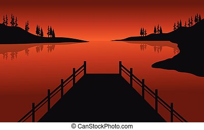 Beautiful silhouette of pier