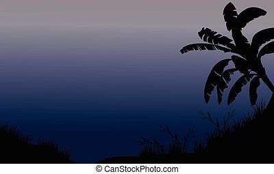 Banana tree and grass silhouette