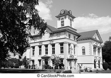 Brooks County Court House - A black and white photo of...