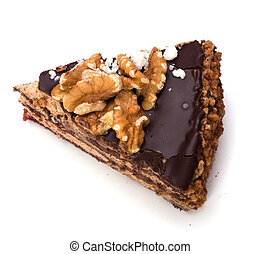 Slice of chocolate cream cake isolated on white