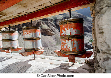 Praying wheel in Tibetan Temple, Padum, Kashmir, India