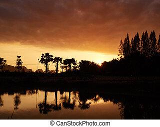 Golden sunrise silhouette