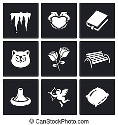 Vector Set of Spring Dating Icons. Melting, Romance, Poetry,...