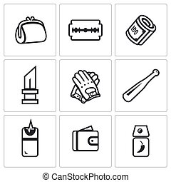 Vector Set of Street Crime Icons Theft, Tool, Money, Threat,...