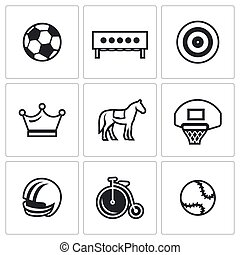 Vector Set of Sport Icons. Soccer, Biathlon, Archery, Chess,...