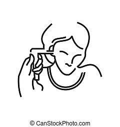 Otolaryngology, Ear endoscopic icon, line icon Style