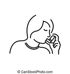 Otolaryngology, using the asthma inhaler icon, line icon...