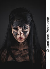 Agly terrible make-up - Spooky portrait of the woman Demon...